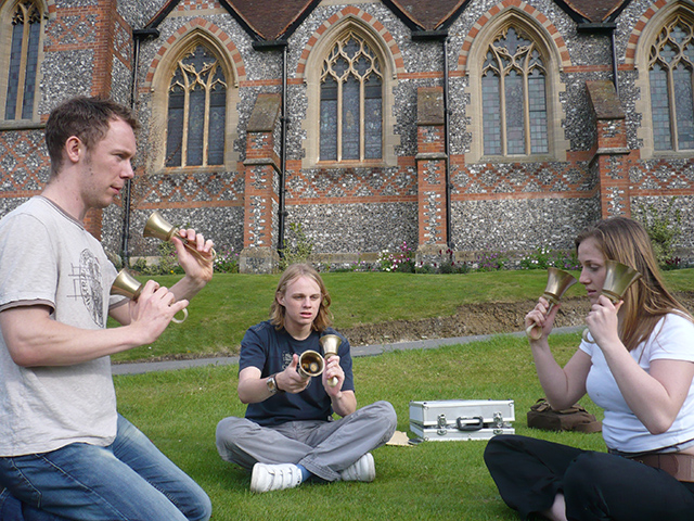 A relaxed handbell session in the college grounds